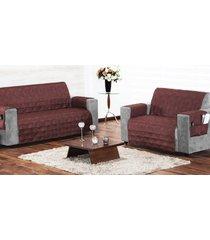 protetor de sofá 2 e 3 lugares tabaco com 2 peças tecido poliester - capa para sofá - aquarela