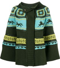 alberta ferretti crochet cardigan - green