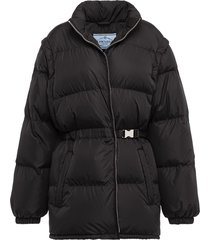 prada padded belted jacket - black