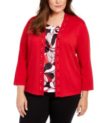 alfred dunner plus size well red beaded-trim layered-look top