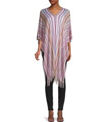 missoni women's fringe-trim knit poncho - pink multi