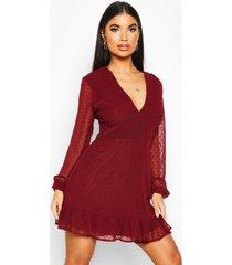 bodycon-jurk van dobby-mesh met v-hals voor korte maten, berry