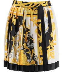 versace acanthus barocco pleated mini skirt