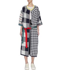 check plaid patchwork sash tie coat