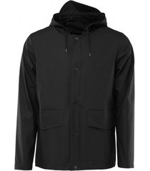 rains regenjas short hooded coat black