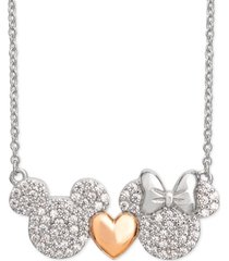 "disney cubic zirconia mickey heart minnie 18"" pendant necklace in sterling silver & 18k rose gold-plate"