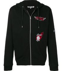 mcq alexander mcqueen patchwork zipped hoodie - black