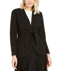 alfani tie-waist collarless blazer, created for macy's