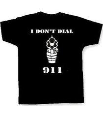 """i don't dial 911"" t-shirt funny pro gun nra gun rights patriotic outlaw biker"