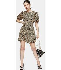 animal print puff sleeve mini dress - brown