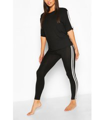 side stripe t-shirt leggings lounge set, black