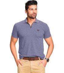 camisa polo mallha tony menswear com zíper azul