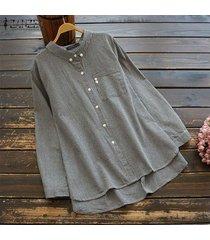 zanzea mujeres solapa botones camisa con tops asimétricos de gran tamaño de la blusa de la raya -negro