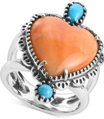 american west orange spiny oyster and turquoise heart-shape statement ring in sterling silver