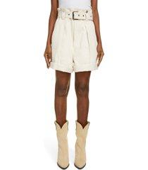 isabel marant delilaz paperbag waist cotton shorts, size 12 us in ecru 23ec at nordstrom