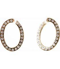 christian dior gold tone rhinestone hoop earrings gold sz: