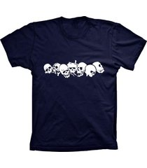 camiseta lu geek manga curta caveiras azul marinho