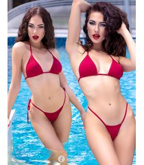 * chilirose 3-delige rode bikini set