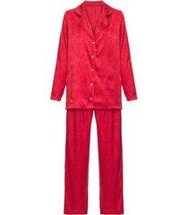 pijama manga longa cetim yume loungerie - vermelho