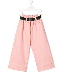 andorine belted wide-leg jeans - pink