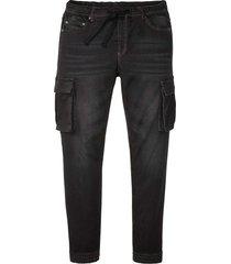 jeans cargo con elastico in vita slim fit straight (nero) - rainbow