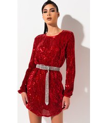 akira send me love sequin long sleeve mini dress