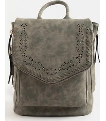 melody perforated flap backpack - charcoal