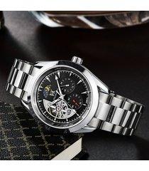 reloj, cinturón de acero para uñas real para hombres-negro
