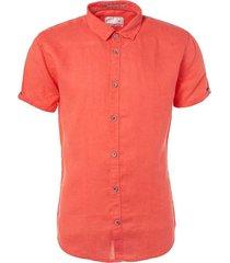 no excess shirt, s/sl, linen red overhemden rood
