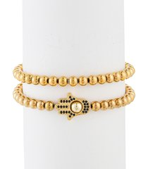 eye candy la men's jacob 2-piece hamsa titanium bead & cubic zirconia bracelet set
