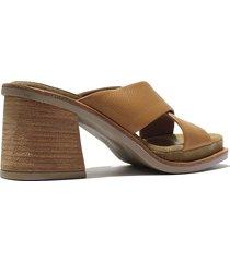 sandalia  de cuero camel felmini barcelona