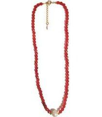 colar chocker pedra natural semijoia banho de ouro 18k agata vermelho e perola - feminino