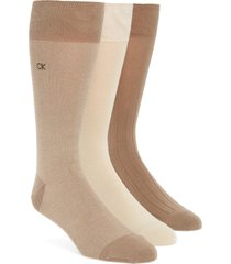 men's calvin klein 3-pack crew socks, size one size - beige