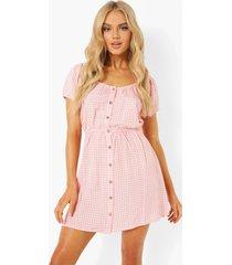 gingham skater jurk met knopen, pink