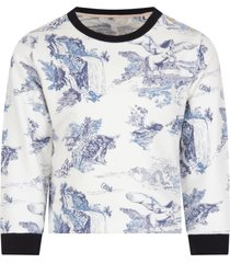 chloé white sweatshirt with blue prints for girl