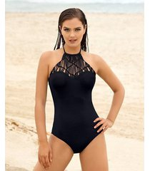 vestido de baño entero con high neck en macramé - vestido de baño 1pz negro leonisa