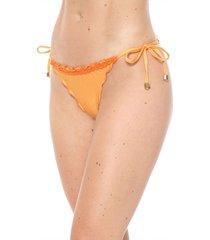 calcinha alto giro string crochê laranja
