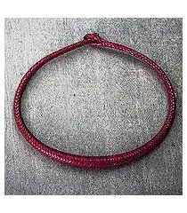braided leather necklace, 'mpusia in magenta' (ghana)