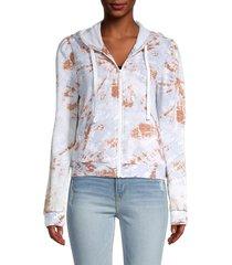 kensie women's puffed-sleeve zip jacket - tan animal - size s