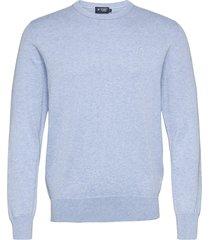 cotton silk crew stickad tröja m. rund krage blå hackett london