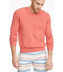 tommy hilfiger men's essential v-neck sweater spiced coral heather - m