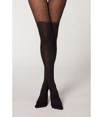 calzedonia dot motif stocking effect tights woman black size 3/4