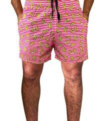 shorts estampado tactel com elastano estampa verão 01026 rosa