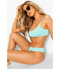 mix & match scoop crop bikini top, blue