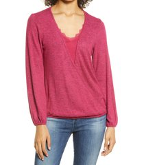 women's bobeau wrap front lace trim long sleeve hacci top, size xx-small - red