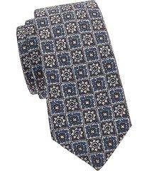 printed wool & silk-blend tie