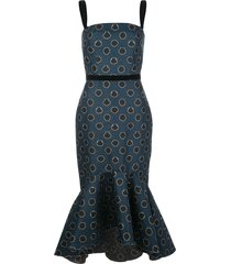 johanna ortiz rito ancestral peplum hem cocktail dress - blue