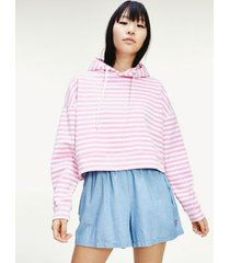 tommy hilfiger women's stripe cropped hoodie pink daisy / white - xs