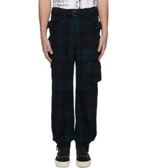 asymmetric pocket belted flannel pants