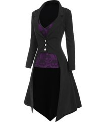 halloween high low lapel trench coat with skull lace camisole